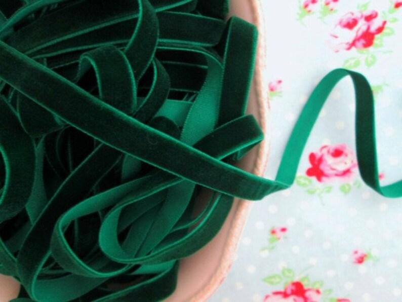 Deep Emerald Green Velvet Ribbon 1 Yard 38 inch