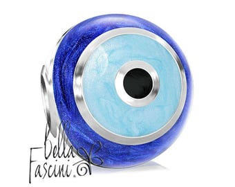 2315a8ba4 Evil Eye of Protection Symbol Bead Charm - Watchful Eye Blue Enamel - 925  Silver - Fits Pandora and Compatible Brands - BELLA FASCINI® F-162