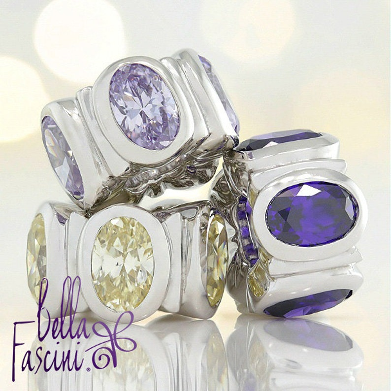 d2faeea11 CZ Oval Lights Bead Charm Royal Purple 925 Sterling Silver | Etsy