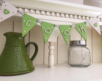 Wooden 'cook' bunting flags