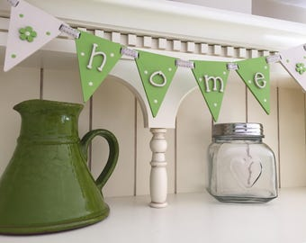 Wooden 'home' bunting flags