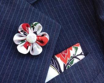 Lapel Pins Mens Lapel Pin Flower Lapel Pin Pocket Square Set Colorful Boutonniere Gift For Men Handkerchief Kanzashi Brooch Custom Suit Pin
