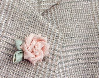 Pink Rose Lapel Pins Mens Lapel Pin Flower Lapel Pin Women Silk Lapel Flower Kanzashi Brooch Wedding Boutonniere Groomsman Gift For Women
