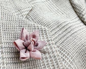 Lotus Lapel Pin Wedding Men Women Lapel Pin Flower Lapel Pin Kanzashi Brooch Silk Custom Lavender Pink Boutonniere Groomsman Gifts For Men