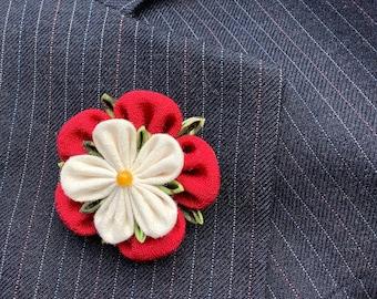 Mens Lapel Pin Flower Lapel Pin Red Lapel Flower Tudor Rose Kanzashi Brooch Custom Lapel Pin Men Wedding Boutonniere Groomsman Gift For Men