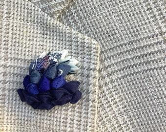Blue Wave Lapel Pins Men Great Wave Blue Tsunami Silk Boutonniere Kanzashi Brooch Resistance Gift For Men Women Art History Pins Democrats