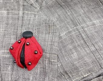 Ladybug Lapel Pins Mens Lapel Pin Red Boutonniere Kanzashi Brooch Boyfriend Gift For Men Women Ladybug Gifts Ladybird Beetle Pin