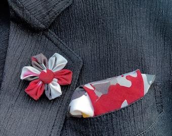 Custom Lapel Pins Mens Lapel Pin Flower Lapel Pin Pocket Square Set Red Colorful Boutonniere Silk Lapel Flower Handkerchief Gift For Men
