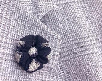 Flower Lapel Pin Navy Japanese Kanzashi Silk Mens Custom Lapel Pin Boutonniere