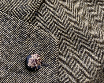 Black Brown Gold Silk Round Lapel Pin Silk Button Lapel Pins Men Wedding Chinese Boutonniere Gifts For Boyfriend Gifts For Him Men Under 20