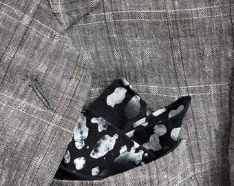 Pocket Square Black White Batik Cotton Handkerchief Men Black Pocket Square Custom Mens Gift For Husband Hankerchief Hankies Hanky Wedding