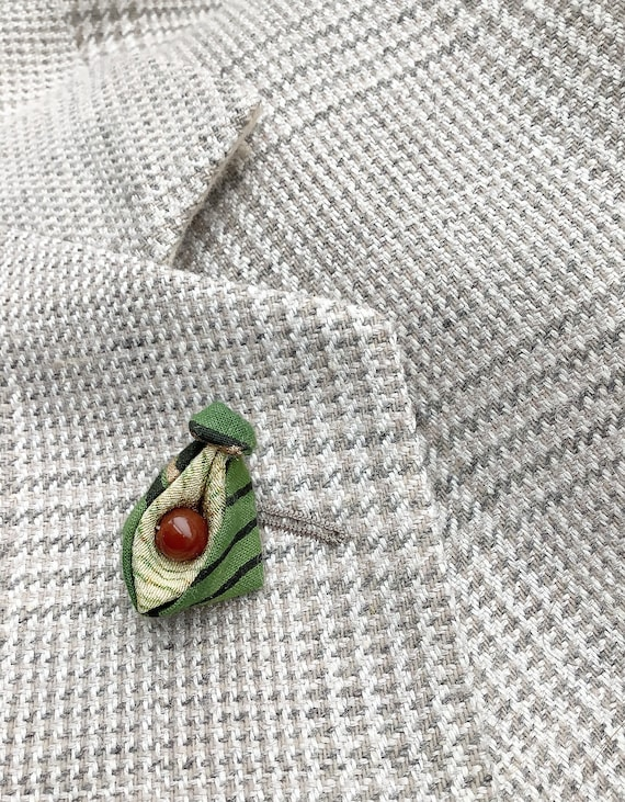 Asparagus Lapel Pins Mens Lapel Pin Green Boutonniere Stocking Stuffer Silk Vegetable Gifts For Men Foodies Cooks Vegans Kanzashi Brooch