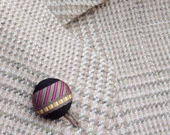 Custom Lapel Pins Mens Lapel Pin Round Button Lapel Pin Silk Stripe Boutonniere Groomsman Gift For Men Wedding Party Boyfriend Gift Under 20