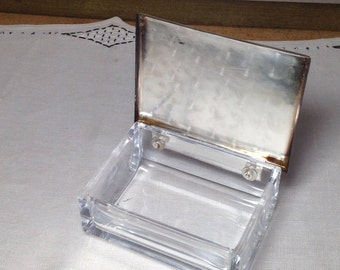 Vintage Crystal Silver Plate Cigarette Box Glass Hinged Inscribed 1960s