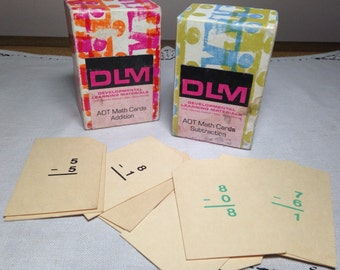 DLM Vintage Math Flash Cards ADDITION & SUBTRACTION Developmental Learning Material Educational Back To School