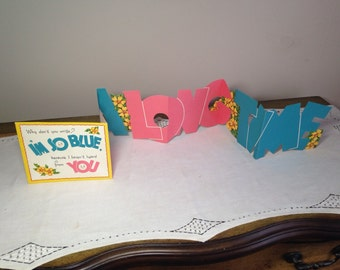 Vintage Greeting Card FOLD OUT Banner Please Write 60s I'm So Blue