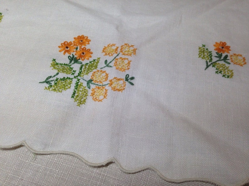 Vintage Table Runner Dresser Scarf Embroidered Cross Stitch Cotton Yellow Orange and Green Flowers Linen Scalloped Edge