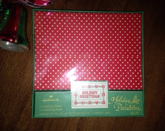 Vintage Christmas Cards HOLIDAY POSTALETTES Hallmark 12 Fold Up Notes Stationery in Box
