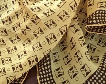 Vintage 50s Scarf Silk Hand Screen Print Yellow Ochre Gold Graphic Brown
