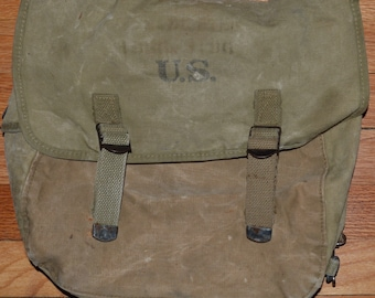 Vintage US Army WWII Musette Bag Pack Atlantic Products Corp 1943