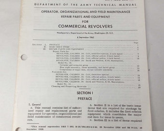 1962 US Army Military Manual Maintenance Repair Parts Equipment Commercial Revolvers Colt, S&W Police Parts Diagrams (P20-0724-1(5.0)