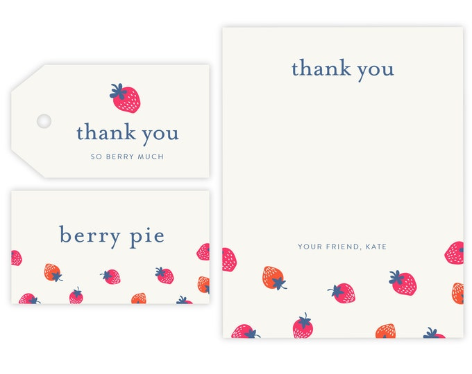 Strawberry Thank You Notes, Gift Tag and Place Holder |  Strawberry, Berry Favor Tags, Instant Download, Berry Party, So Berry Sweet