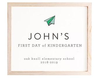 1st Day of School Sign, Boy, Editable, Preschool Sign, Kindergarten Sign, Back to School Sign, Personalized School Sign, First Day of School
