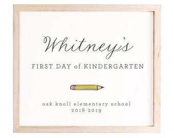 1st Day of School Sign, Editable, Preschool Sign, Kindergarten Sign, Back to School Sign, Personalized School Sign, Last Day of School Sign