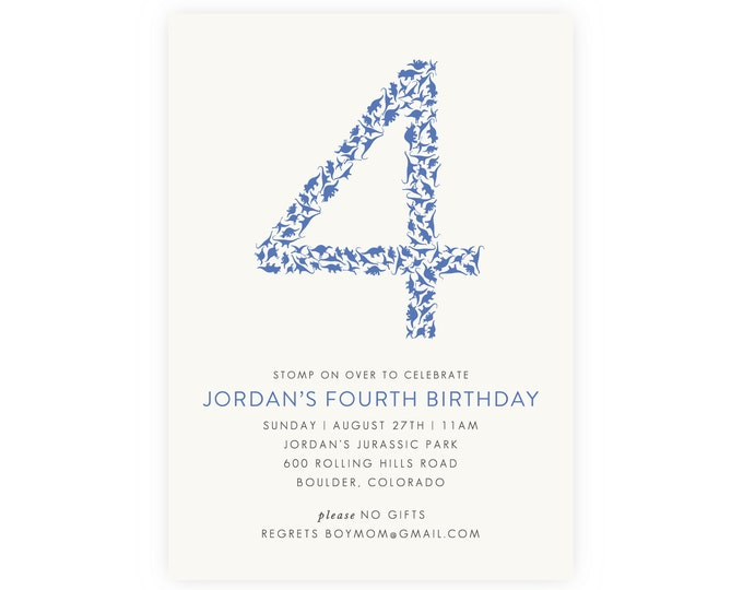 4th Birthday Invitation for a Dinosaur Birthday Party | Dinosaur Party, Digital Download, Dinosaur Invitation, Fourth Birthday