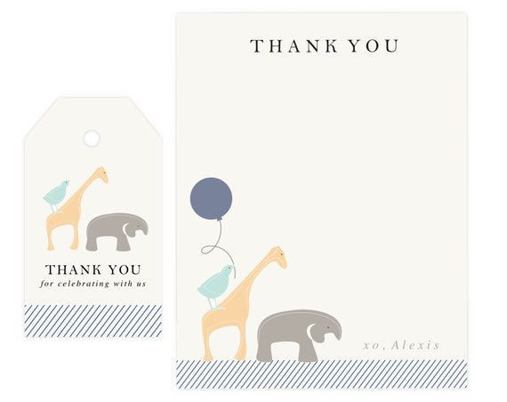 Baby Shower Thank You Cards Elephant | Baby Shower Thank You Printable, Animal Baby Shower Thank You, Digital Download, Instant Download PDF