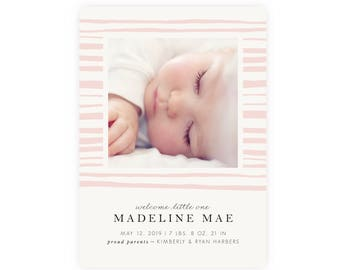 Modern Photo Birth Announcement | Baby Girl, Instant Download, Printable Template, Newborn Announcement, Birth Announcement Template, Classy