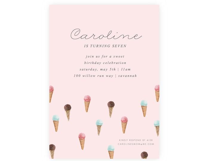 Ice Cream Social Birthday Invitation w/ Photo | Ice Cream Invitation, Ice Cream Party, Instant Download, Printable, Template, Picture, PDF
