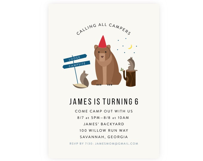 Camping Birthday Party Invitation w/ Photo | Bear Birthday Invite, Instant Download, Digital Download, Printable Template, Buffalo Check