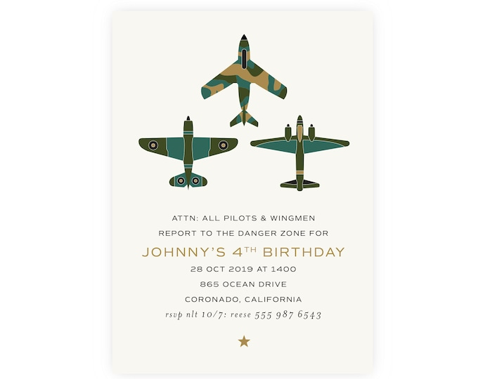 Jets Birthday Invitation with Photo | Printable Military Birthday Invitation, Instant Download, Digital Download, Airplane Birthday, Top Gun