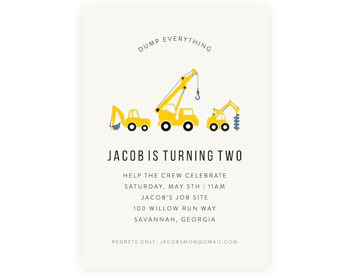 Dump Truck Construction Invitation w/ Photo | Birthday Invitation, Instant Download, Digital Download, Invitation Template, Picture Backer