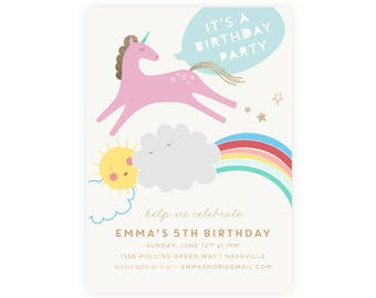 Digital Unicorn Birthday Invitation with Photo | Unicorn Birthday Invitation, Rainbow Birthday Invitation, Unicorn Template Instant Download
