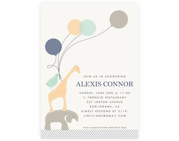 Animal Baby Shower Invitation Boy | Baby Shower Invitation Elephant, Baby Boy Shower Invitation, Shower Printable Template, Diaper Raffle