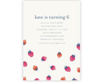 Strawberry Invitation | Strawberry Birthday, Strawberry Party, First Birthday, Spring Birthday, 1st Birthday, Berry Party, Garden Party
