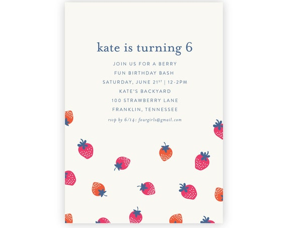 Strawberry Invitation | Strawberry Birthday, Strawberry Party, First Birthday, Spring Birthday, 1st Birthday, Berry Party, Garden Party