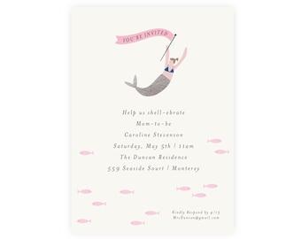 Mermaid Baby Shower Invitation | Mermaid Invitation, Editable, Printable Template, Instant Download, Under the Sea, Diaper Raffle, PDF