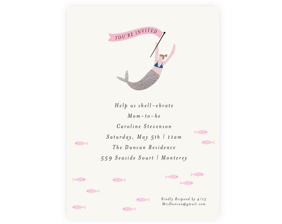 Mermaid Baby Shower Invitation | Mermaid Invitation, Editable, Printable Template, Instant Download, Under the Sea, Diaper Raffle, PDF