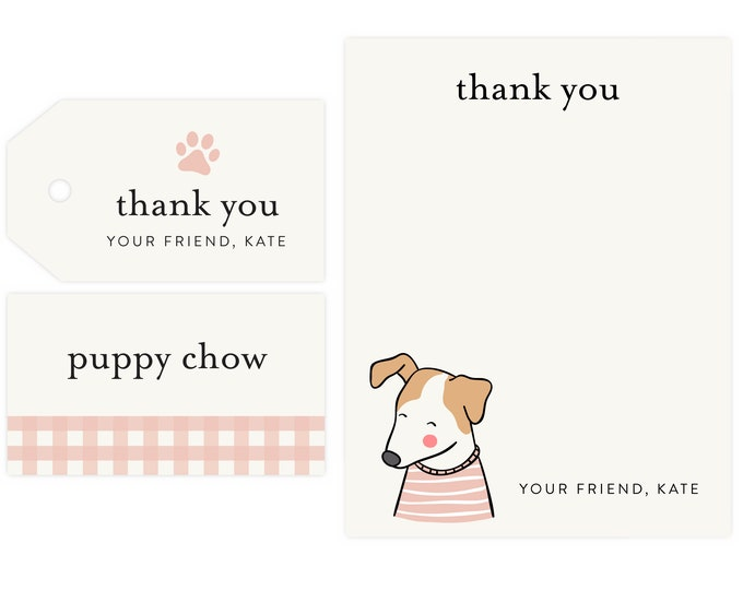 Puppy Party Thank You and Gift Tags | Puppy Note Cards, Puppy Thank You, Puppy Favor Tags, Instant Download, Dog Party, Instant Download PDF