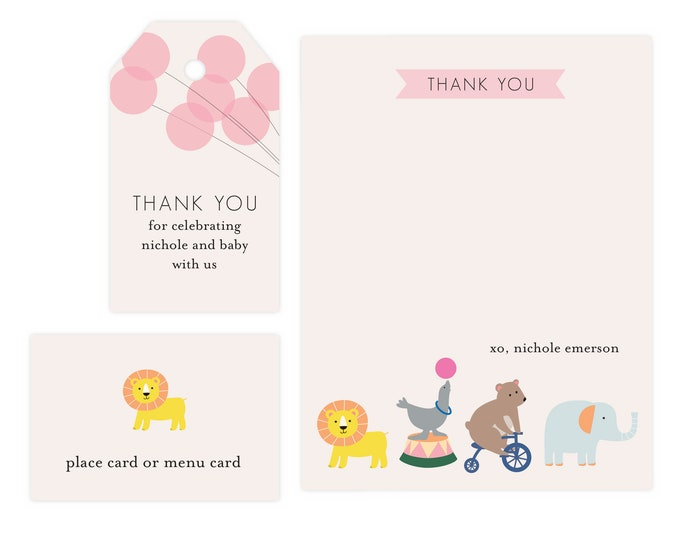 Baby Shower Thank You Card | Baby Shower Thank You Printable, Baby Shower Gift Tag, Editable, Printable Template, Instant Download PDF Favor