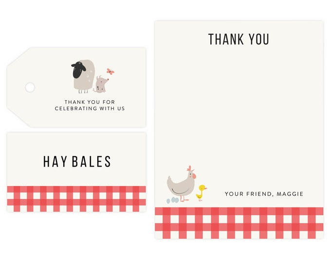 Barnyard Party Thank You and Favor Tags | Farm Party, Banyard Birthdayn Favor Tags, Instant Download, Old McDonald, Printable Template