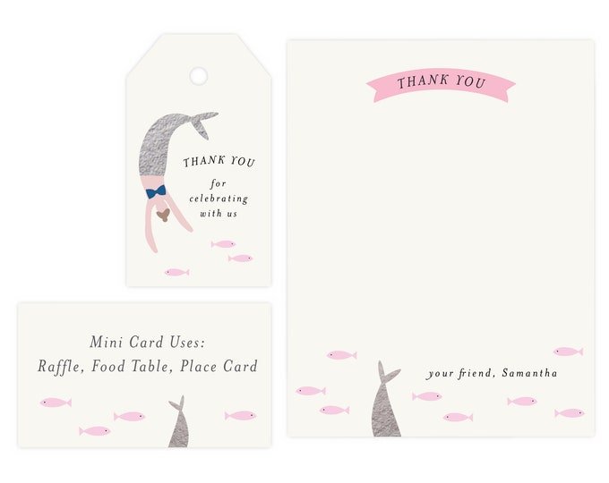 Mermaid Thank You Cards and Gift Tags | Printable Mermaid Thank You Tags, Mermaid Favor Tags, Instant Download, Mermaid Baby Shower Tags