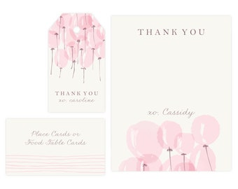 Girl Baby Shower Thank You Card | Baby Shower Gift Tags, Baby Girl, Favor Tags, Gift Tag, Thank Yous, Printable Template, Instant Download