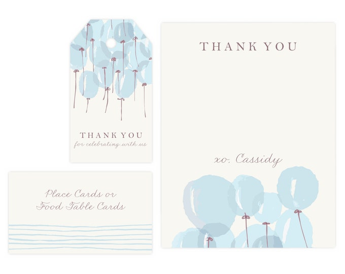 Boy Baby Shower Thank You Card | Baby Shower Gift Tags, Baby Boy, Favor Tags, Gift Tag, Thank Yous, Printable Template, Instant Download PDF