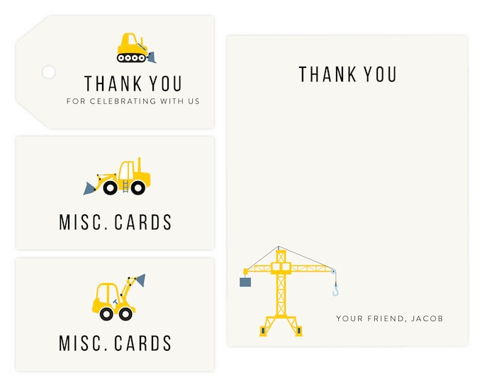Construction Party Thank You and Gift Tags | Dump Truck, Construction Favor Tags, Instant Download, Bob the Builder,