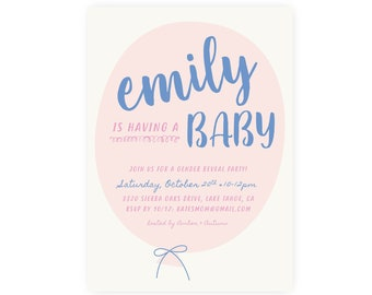 Gender Reveal Baby Shower Invitation Template w/ Diaper Raffle or Book Request backer | Blue or Pink, He or She, Boy or Girl, Girl or Boy