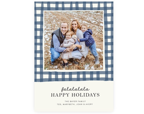 Preppy Gingham Christmas Card | Printable Template, Christmas Photo Card, Christmas Template, Printable Christmas, Editable Template